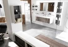 Exemple d'agencement d'une grande salle de bain, avec différentes zones