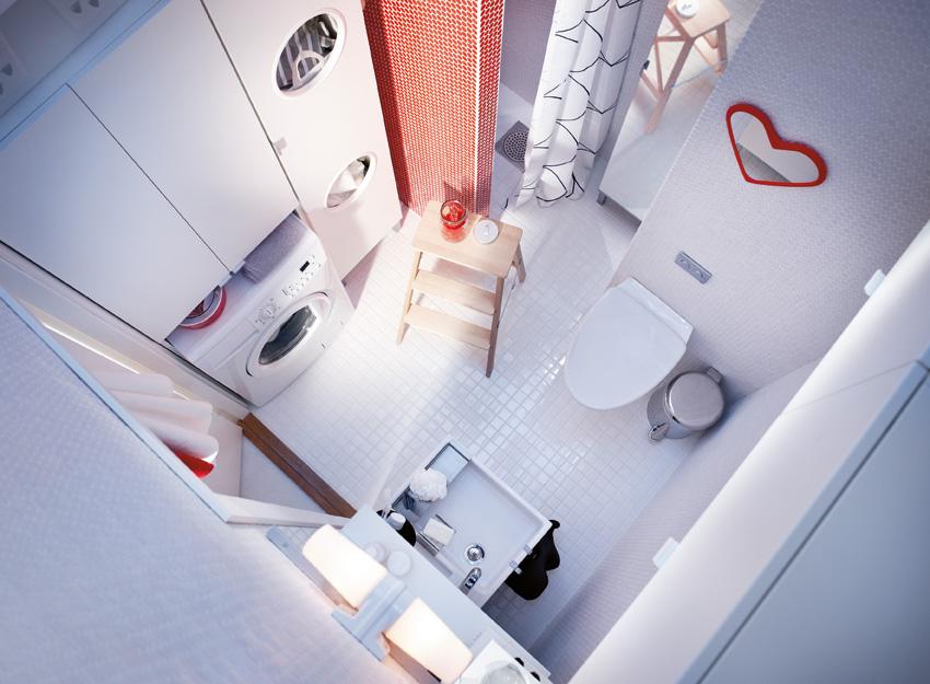 Une salle de bains avec un coin buanderie for Bain en coin avec douche