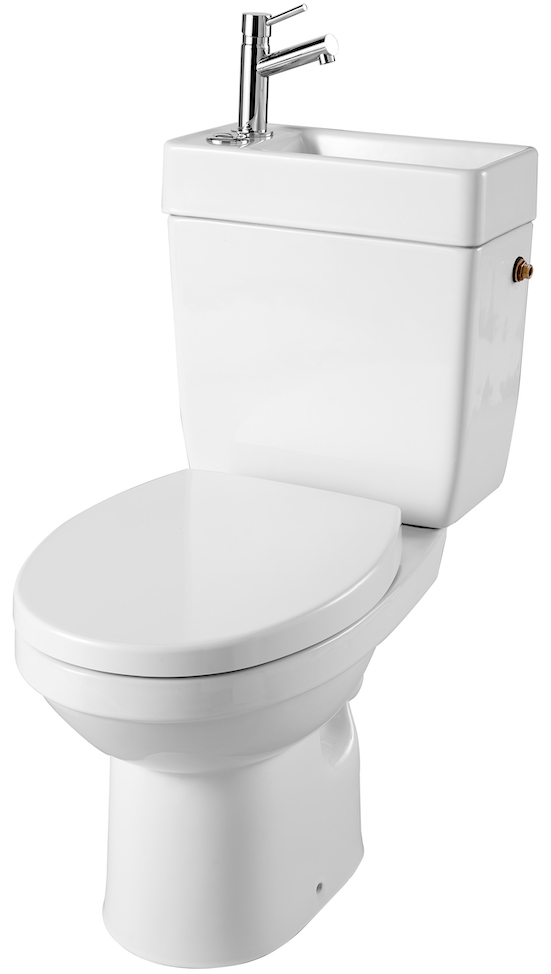 WC sur pied avec lave-mains intégré