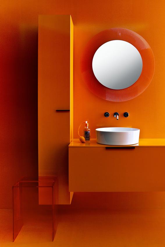Choisir un meuble de salle de bains - Meuble salle de bain orange ...