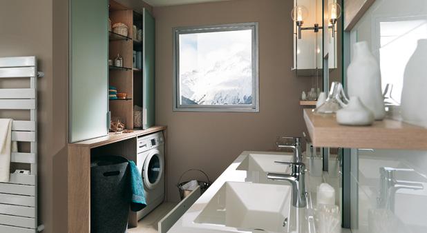 Solutions pour int grer une buanderie la salle de bains - Salle de bain avec machine a laver ...