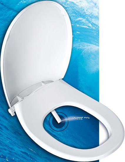 Abattant avec douchette pour se laver aux toilettes