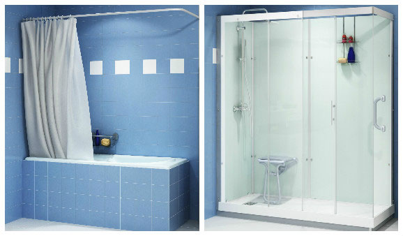 Solutions pour remplacer sa baignoire par une douche - Remplacer baignoire par cabine de douche ...