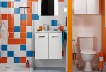 Une mini salle de bain avec douche, meuble et WC séparé par une cloison