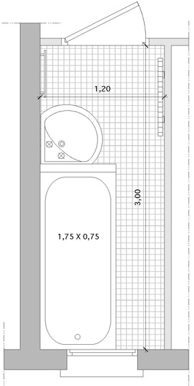 5 plans pour agencer une salle de bains couloir i styles de bain - Plan de salle de bain en longueur ...