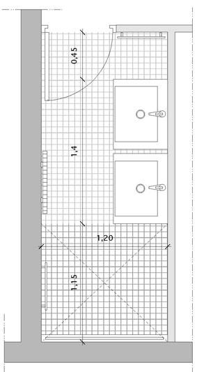 une salle de bains couloir avec double vasque et douche. Black Bedroom Furniture Sets. Home Design Ideas