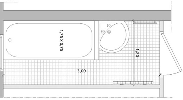 agencement une salle de bains couloir avec baignoire. Black Bedroom Furniture Sets. Home Design Ideas