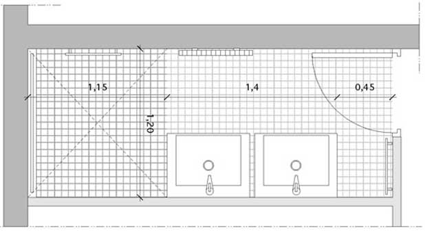 Une salle de bains couloir avec double vasque et douche - Salle de bain buanderie plan ...