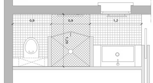 La douche entre toilettes et point d 39 eau styles de bain - Plan petite salle de bain avec wc ...