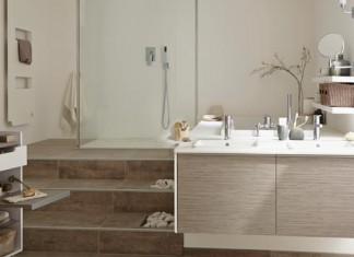 Ambiance avec une estrade dans la salle de bains, qui accueille douche et baignoire