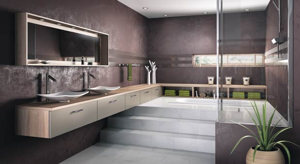 une estrade pour structurer l 39 espace dans la salle de bains. Black Bedroom Furniture Sets. Home Design Ideas
