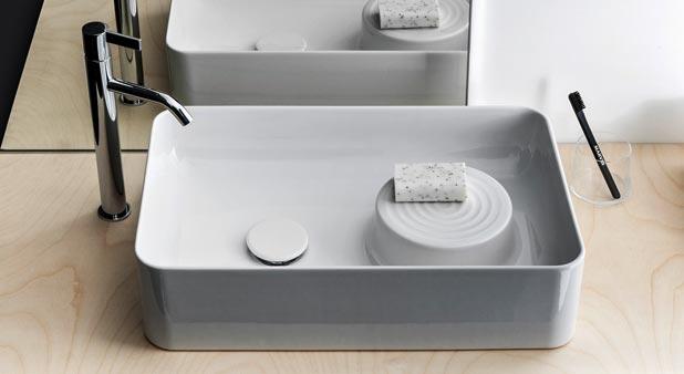 vasque Laufen au bord très fin, disposant à l'intérieur, d'une zone surélevée pour poser le savon
