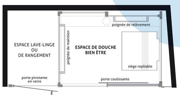 cabine de douche bien etre de leda avec rangement. Black Bedroom Furniture Sets. Home Design Ideas