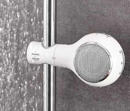 Aquatunes de grohe une enceinte fixer sur la barre de douche styles de bain - Enceinte de salle de bain ...