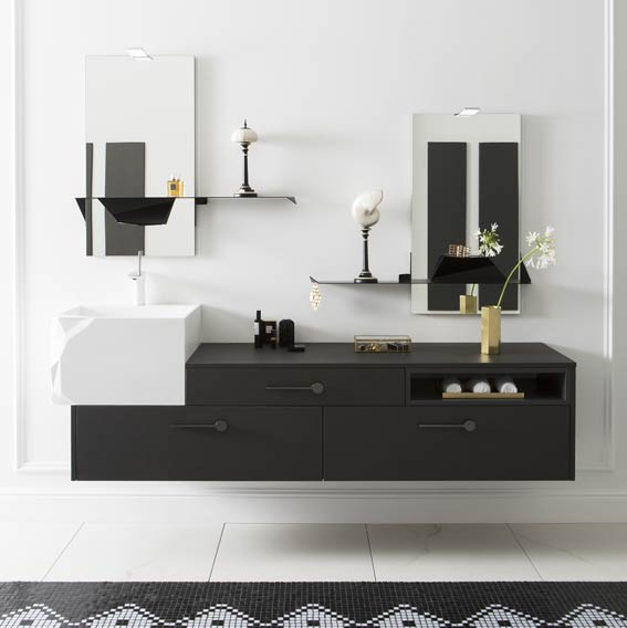 salle de bains raffinement en noir et blanc styles de bain. Black Bedroom Furniture Sets. Home Design Ideas