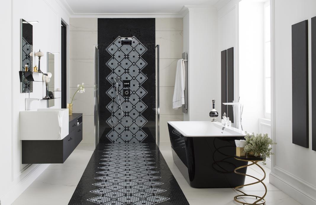 salle de bains raffinement en noir et blanc styles de bain. Black Bedroom Furniture Sets. Home Design Ideas