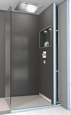 riolito discreto de wedi agencer gr ce l 39 vacuation murale de douche. Black Bedroom Furniture Sets. Home Design Ideas