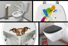Pot pourri de différents abattants de WC décorés