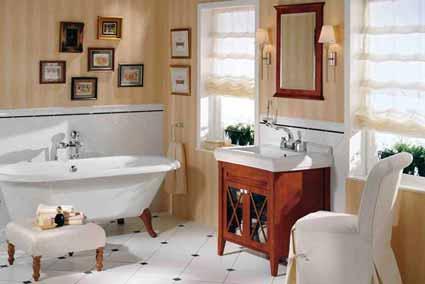 Un soubassement dans la salle de bain, de style rétro