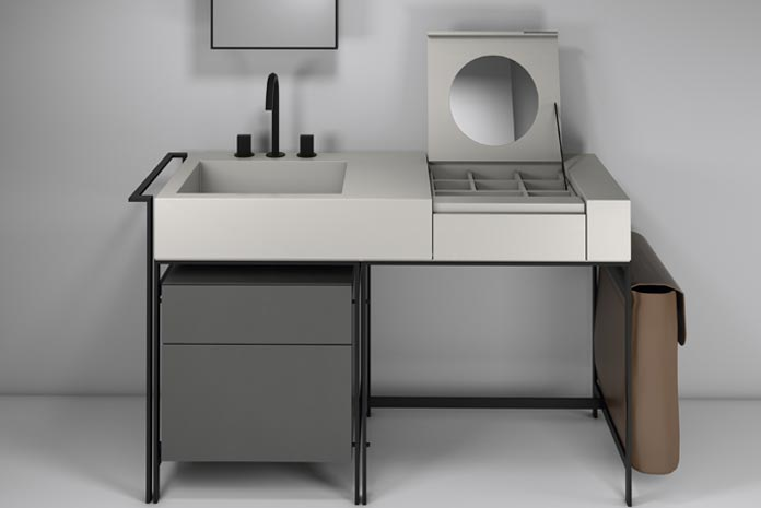 Une coiffeuse meuble beautiful une coiffeuse meuble with for Coiffeuse de salle de bain