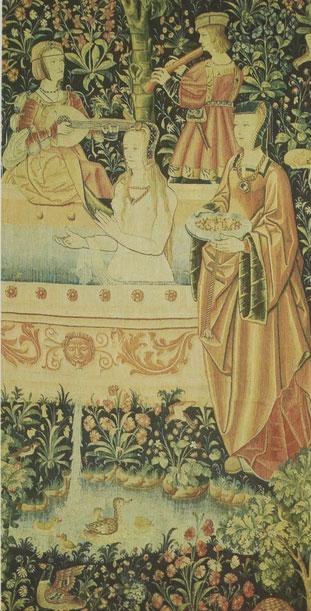 Tapisserie illustrant un bain au Moyen-âge