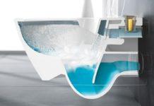 WC avec reservoir d'eau bleue