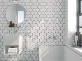 Carrelage blanc dans la salle de bain, ambiance Cosmic