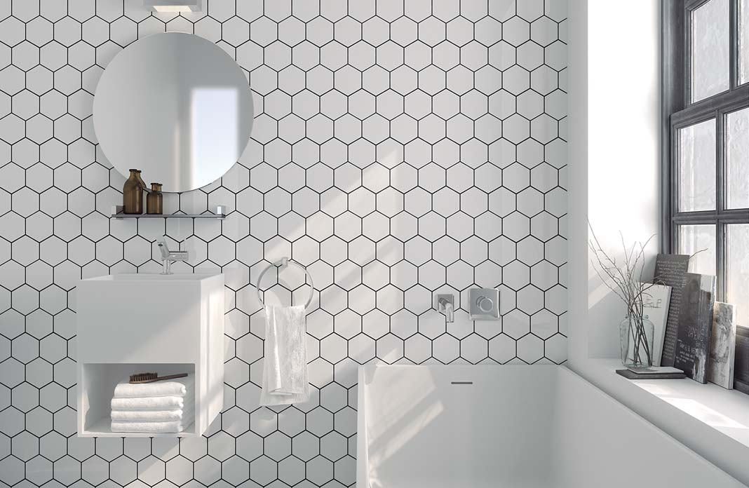 Best salle de bain carrelage blanc ideas awesome for Carrelage blanc hexagonal