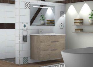image 3D d'une salle de bain blanche avec un meuble en bois