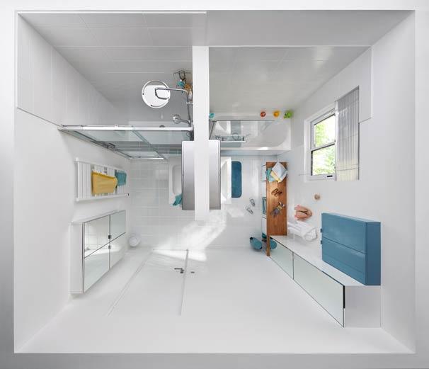 salle de bains à partager vue de dessus