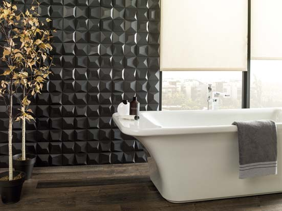 idée carrelage salle de bain noire
