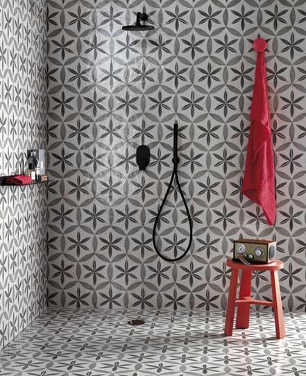 quand le carrelage fait le style de la salle de bains. Black Bedroom Furniture Sets. Home Design Ideas