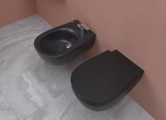 Bidet et WC noirs coordonnés