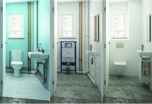 les trois étapes de la pose d'un bpati-support de WC suspendu