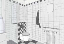 dessin au crayon d'une petite salle de bain carrelée