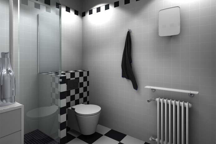 Petite salle de bain carrée avec un WC: vue côté toilettes