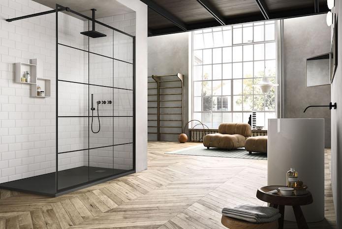 7 parois de douche de style atelier styles de bain. Black Bedroom Furniture Sets. Home Design Ideas