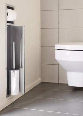 Niche de rangement conçue pour s'intégrer au bâti-support des WC