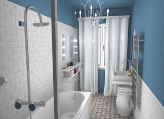 Vue d'une salle de bain bleu et blanche orignale et déco