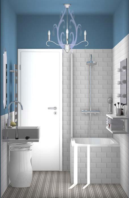 vue sur la baignoire et le lavabo d'une salle de bain déco et pas chère