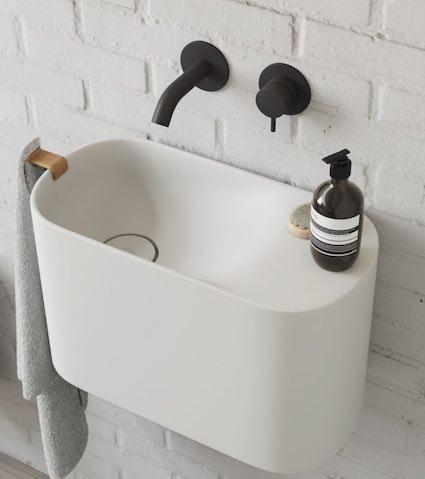 lave-mains design en solid surface blanc