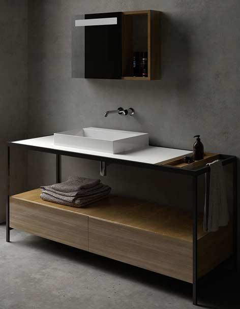 meuble de salle de bain avec chassis métallique noir