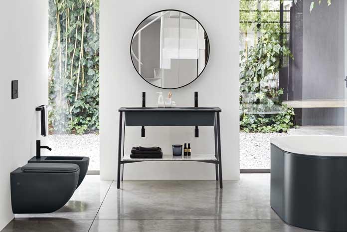 Les plus beaux meubles de salle de bain encadr s de m tal noir - Style de salle de bain ...