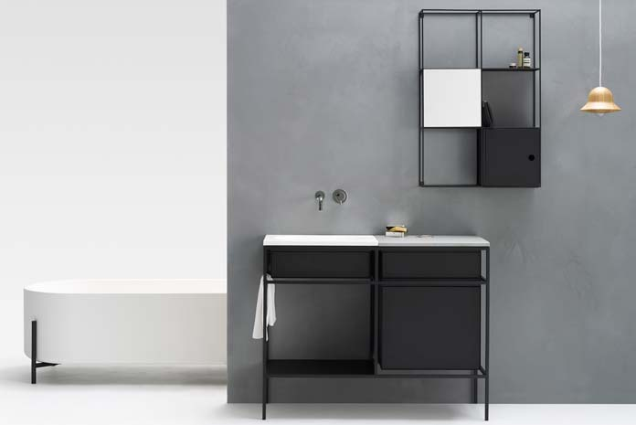 les plus beaux meubles de salle de bain encadr s de m tal noir. Black Bedroom Furniture Sets. Home Design Ideas