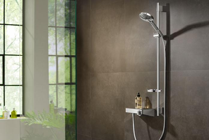 Mitigeur thermostatique de douche avec tablette en verre