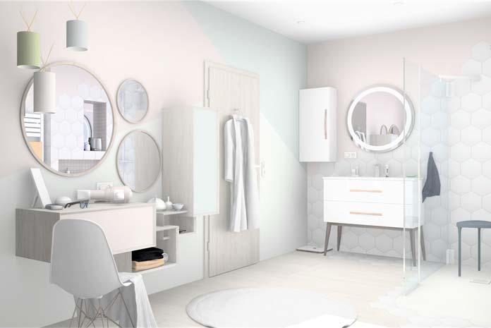exemple de salle de bains style scandinave meuble et coiffeuse