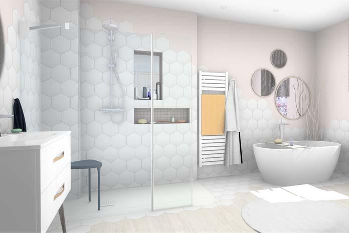 Exemple De Salle De Bains Style Scandinave : Le Meuble Vasque Et La Douche