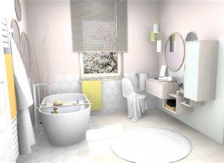 une grande salle de bains de style scandinave