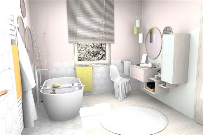 exemple de salle de bains style scandinave la baignoire et la coiffeuse