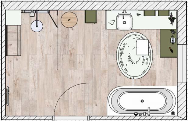 Une salle de bains zen, plan d'implantation